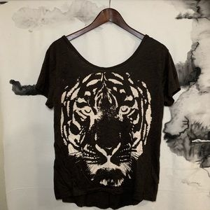 H&M I love H81 Tiger Gray Low Back Tee T Shirt